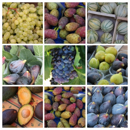 Nine different XL images of green and purple fruits photo