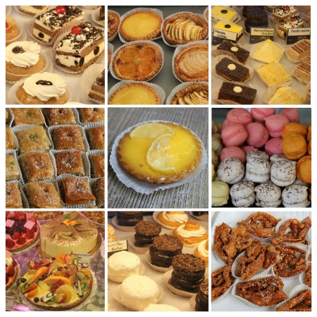 Nine different XL images of luxury French patisserie photo