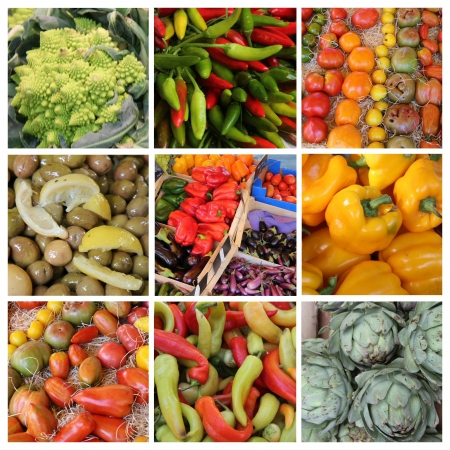 Nine XL vegetable images in a collage photo