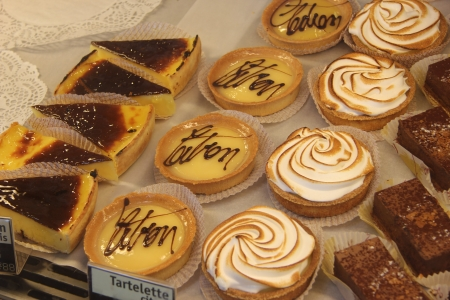 Various sorts of pastry in a shop in the Provence, France photo