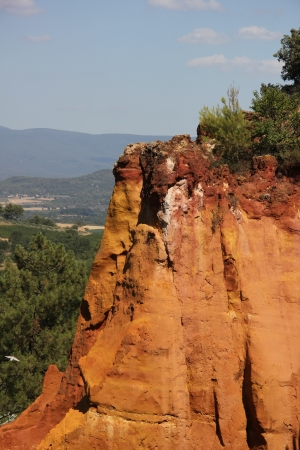 ochre: Ochre colored rocks in Roussillon in the South of France