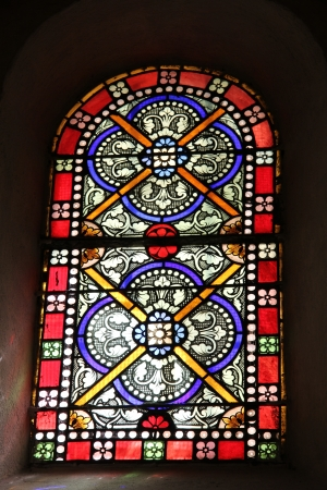 stained glass in a church in Nyons, France