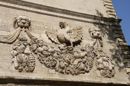 musique: Ornament on facade of Conservatoire de Musique, previously the Popes treasury in Avignon Editorial