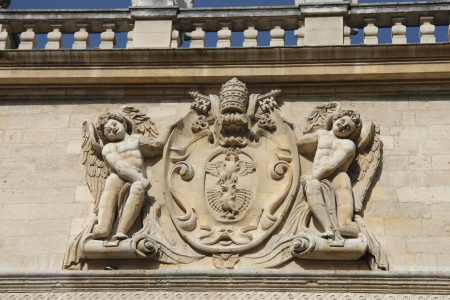previously: Ornament on facade of Conservatoire de Musique, previously the Popes treasury in Avignon Stock Photo