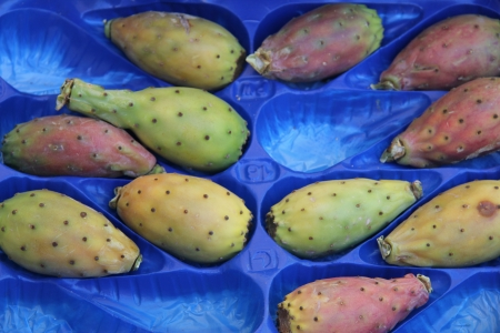 Fresh cactus figs or opuntia at a local market in the Provence, France photo