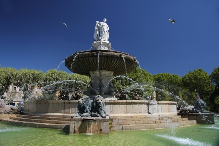 en: Rotunda Fountain in Aix en Provence, France Stock Photo
