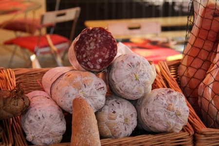 tradional: Traditional Provencal sausages at a local French market Stock Photo