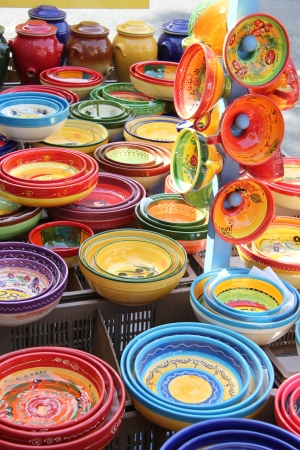 provencal: Colorful ceramic products in traditional Provencal patterns Stock Photo