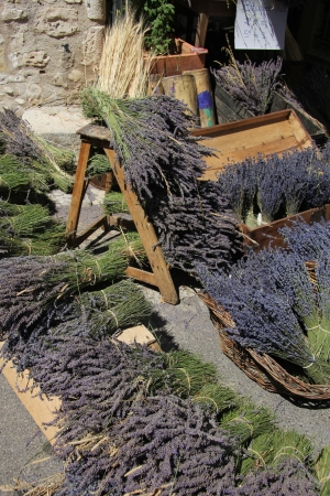 Bouquets of dried lavender for sale at a local market in the Provence, France photo