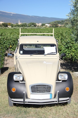 Vintage French car in a vineyard photo