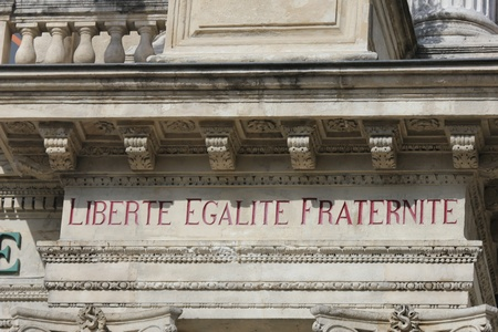 Liberty, equality, fraternity inscripted in French,  the national motto of France photo
