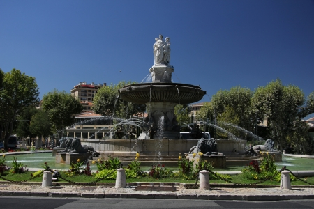 Rotunda Fountain in Aix en Provence, France Stock Photo