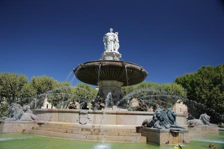 Rotunda Fountain in Aix en Provence, France Stock Photo