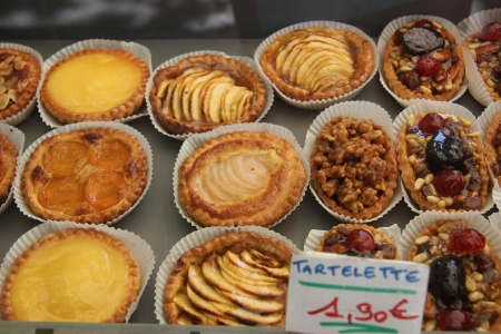 Various sorts of pastry in a shop in the Provence, France