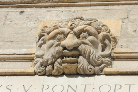 musique: Ornament on facade of Conservatoire de Musique, previously the Popes treasury in Avignon Stock Photo