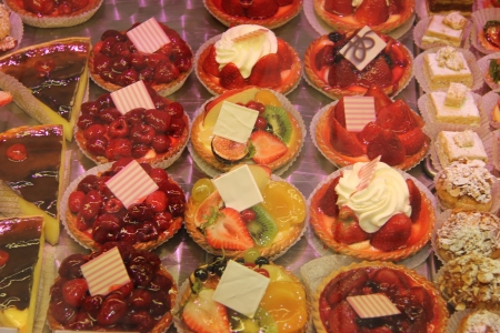 Luxury pastry on display in a French shop photo