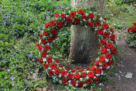 arrangement: Red roses and white gypsophila in a funeral wreath Stock Photo