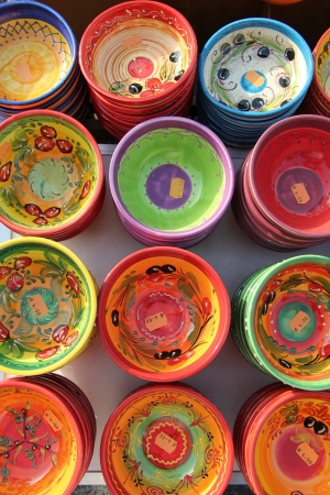 Colorful ceramic products in traditional Provencal patterns Stock Photo
