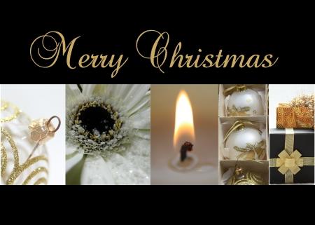 Schwarz Weiß Gold-Collage Weihnachtskarte, bereit zum Drucken