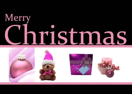 pink Christmas collage card, ready to print Stock Photo - 16187166