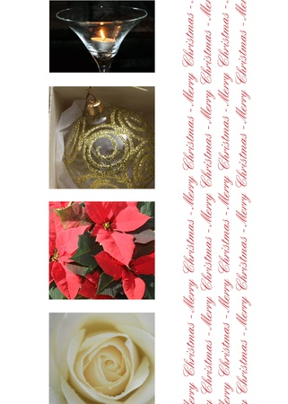 Black white red collage christmas card, ready to print photo