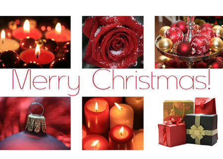 votive candle: Black white red collage christmas card, ready to print Stock Photo