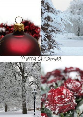 Christmas collage in red, black and white, christmas greeting photo