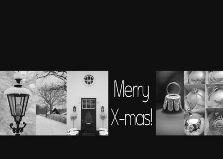 black and white christmas collage card, ready to print Stock Photo - 16187142