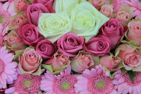 Wedding flowers white and pink flower arrangement roses and stock photo wedding flowers white and pink flower arrangement roses and gerberas mightylinksfo