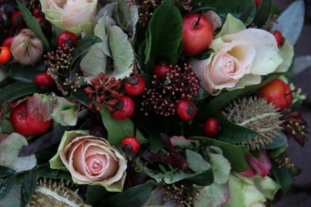 autumn arrangement: Autumn arrangement with berries and roses