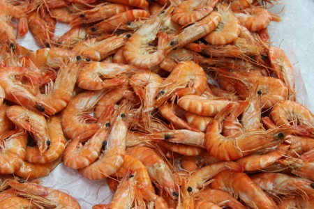 Pile of big orange prawns at a fish market Stock Photo - 16990235