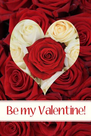 ready to print Valentine's Day Card, white and red roses and a heart Stock Photo - 17092196