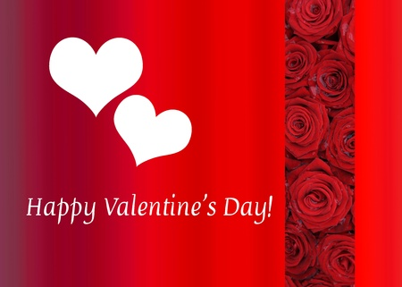 ready to print Valentine's Day Card, red roses and hearts Stock Photo - 17092193
