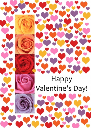 ready to print Valentine's Day Card, colored hearts and roses Stock Photo - 17092194