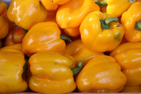 bell peppers: shinny yellow bell peppers at a French market