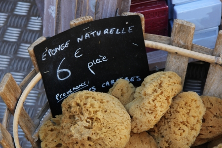 soft sell: Natural sponges at a market in the Provence, France
