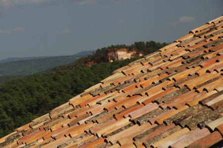 rooftiles: Red roof tiles in Roussillon, village in the Provence, France Stock Photo