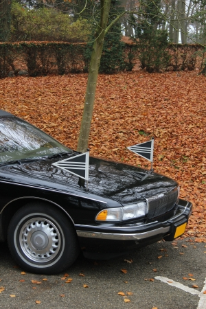 hearse: Black hearse near a cemetary in the autumn