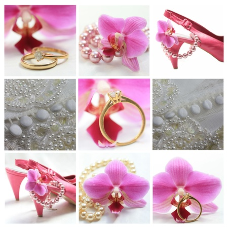 9 XL wedding related images in collage, pink Stock Photo - 18952559