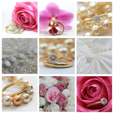 9 XL wedding related images in collage, pink photo