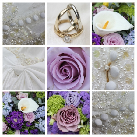 9 XL wedding related images in collage, purple photo