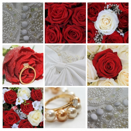 9 XL wedding related images in collage, red photo