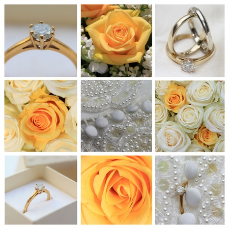 9 XL wedding related images in collage, yellow photo