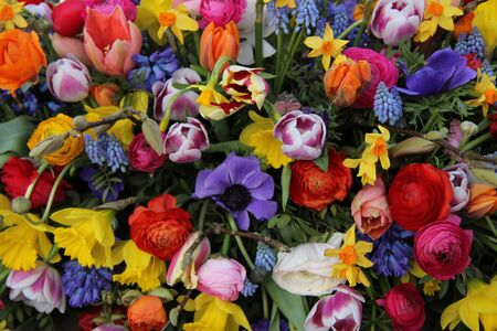 Colorful mixed bouquet with various spring flowers photo