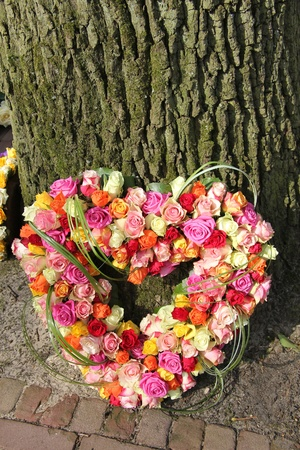 Heart shaped sympathy arrangement, roses in various bright colors Stock Photo - 19224990