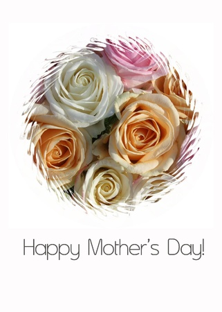 Pastel roses mother s day card photo