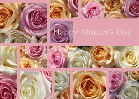Pastel roses collage mother s day card Stock Photo