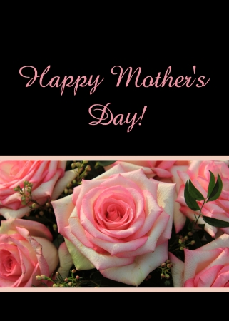 Pink roses mother s day card photo