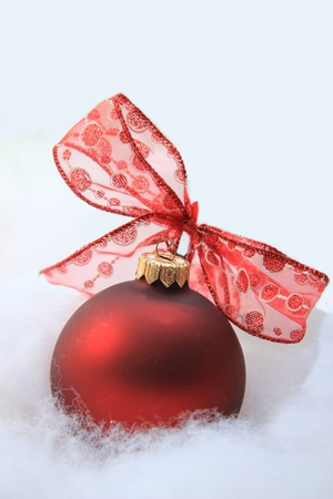 Red christmas ornament with a lace bow photo