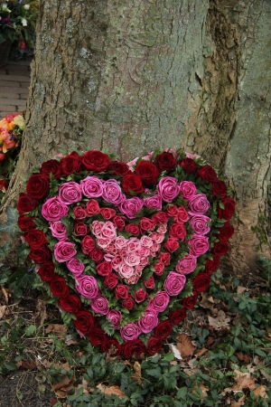 sympathy: Heart Shaped Sympathy flower arrangement in red and pink